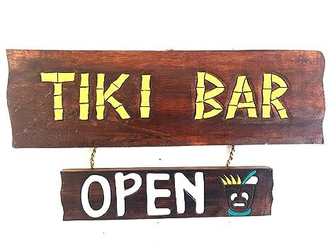 Amazon.com: TIKI Bar signo cartel de madera para colgar en ...
