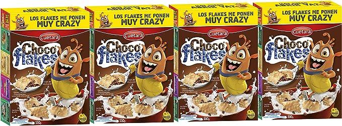 CUÉTARA Choco Flakes - Galletas Rellenas de Cereales de Arroz Inflado y Chips de Chocolate | Merienda y Desayuno | Pack de 4 de 550 g: Amazon.es: Alimentación y bebidas