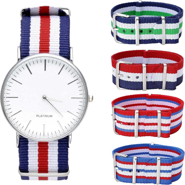 Reloj de cuarzo analógico de pulsera Ginebra unisex con correa textil de nailon y 4 correas de repuesto de JSDDE