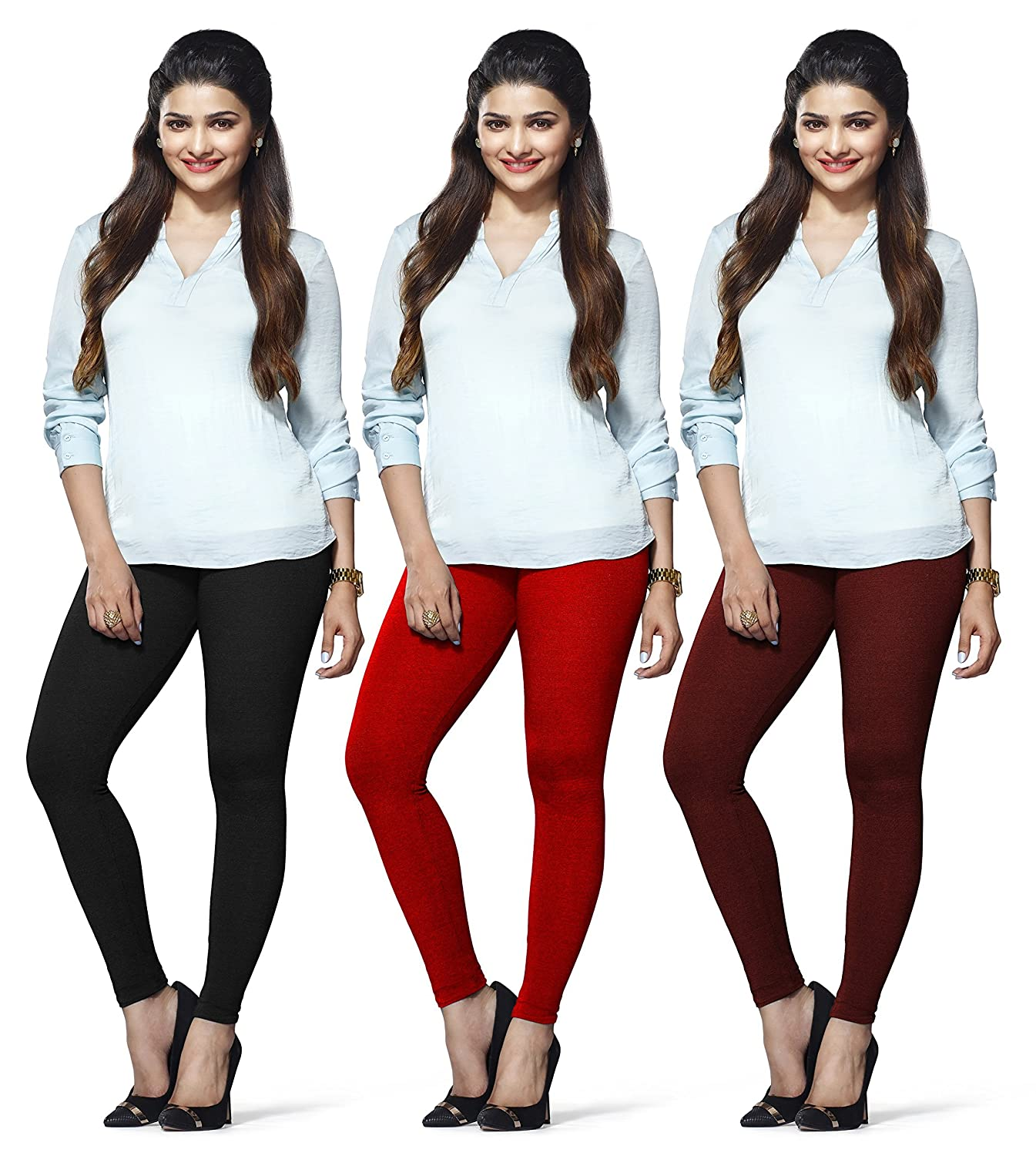 LUX LYRA Women's Ankle Length Leggings (Black, Red and Maroon,...