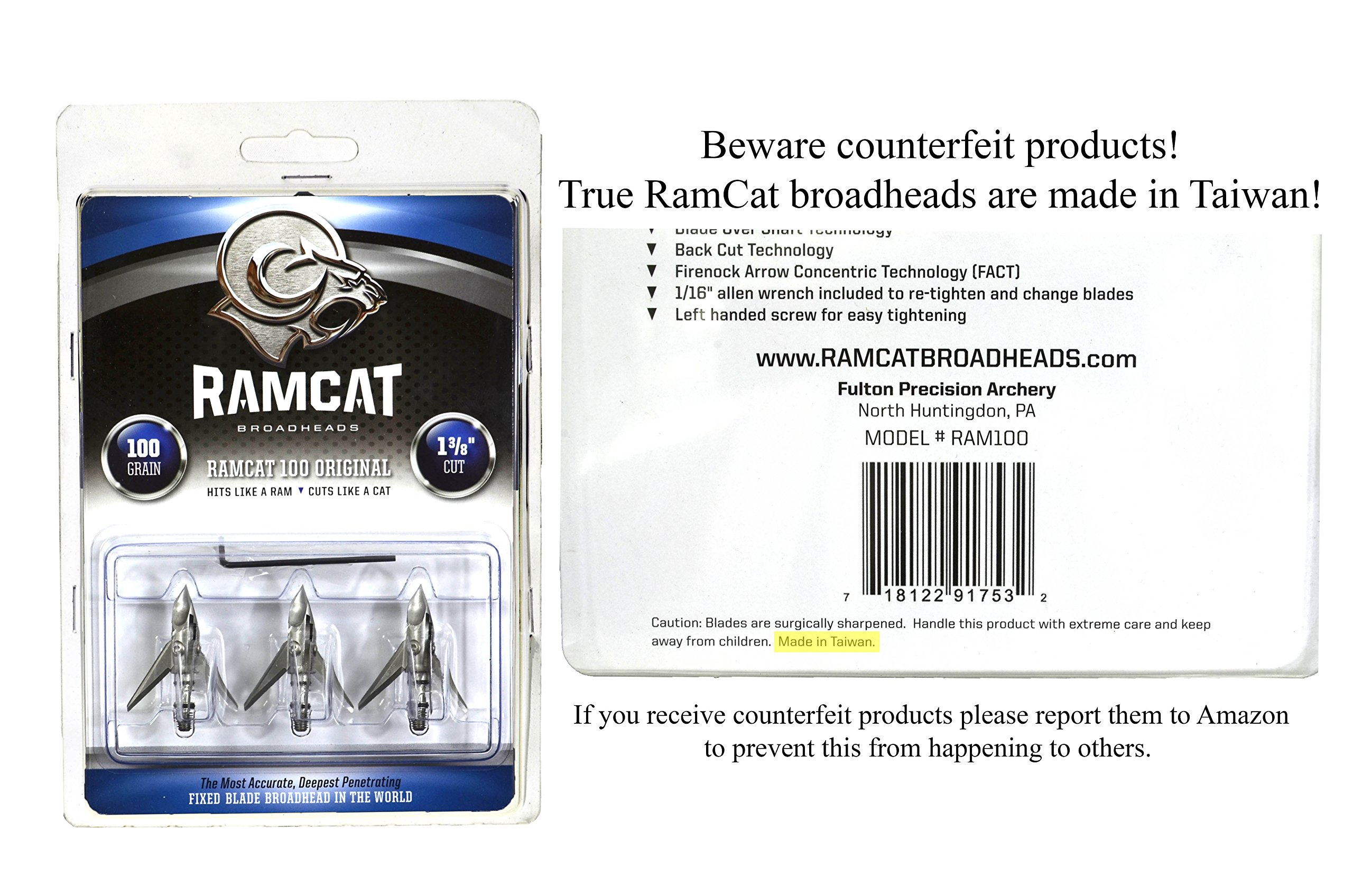 Ramcat 100 Grain Broadheads (3 Pack), Small, Silver