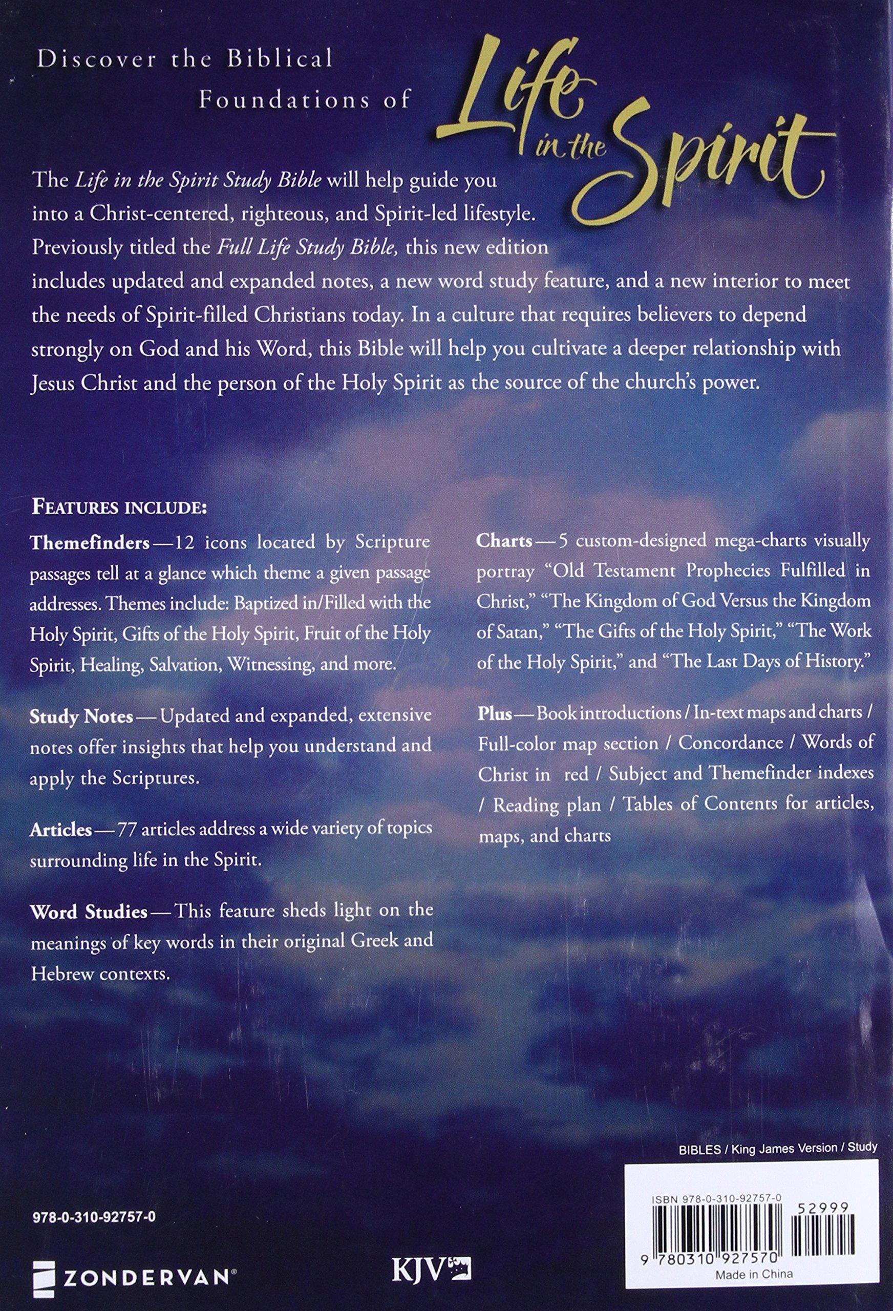 KJV, Life in the Spirit Study Bible, Hardcover, Red Letter Edition: Formerly Full Life Study: Zondervan: 9780310927570: Amazon.com: Books