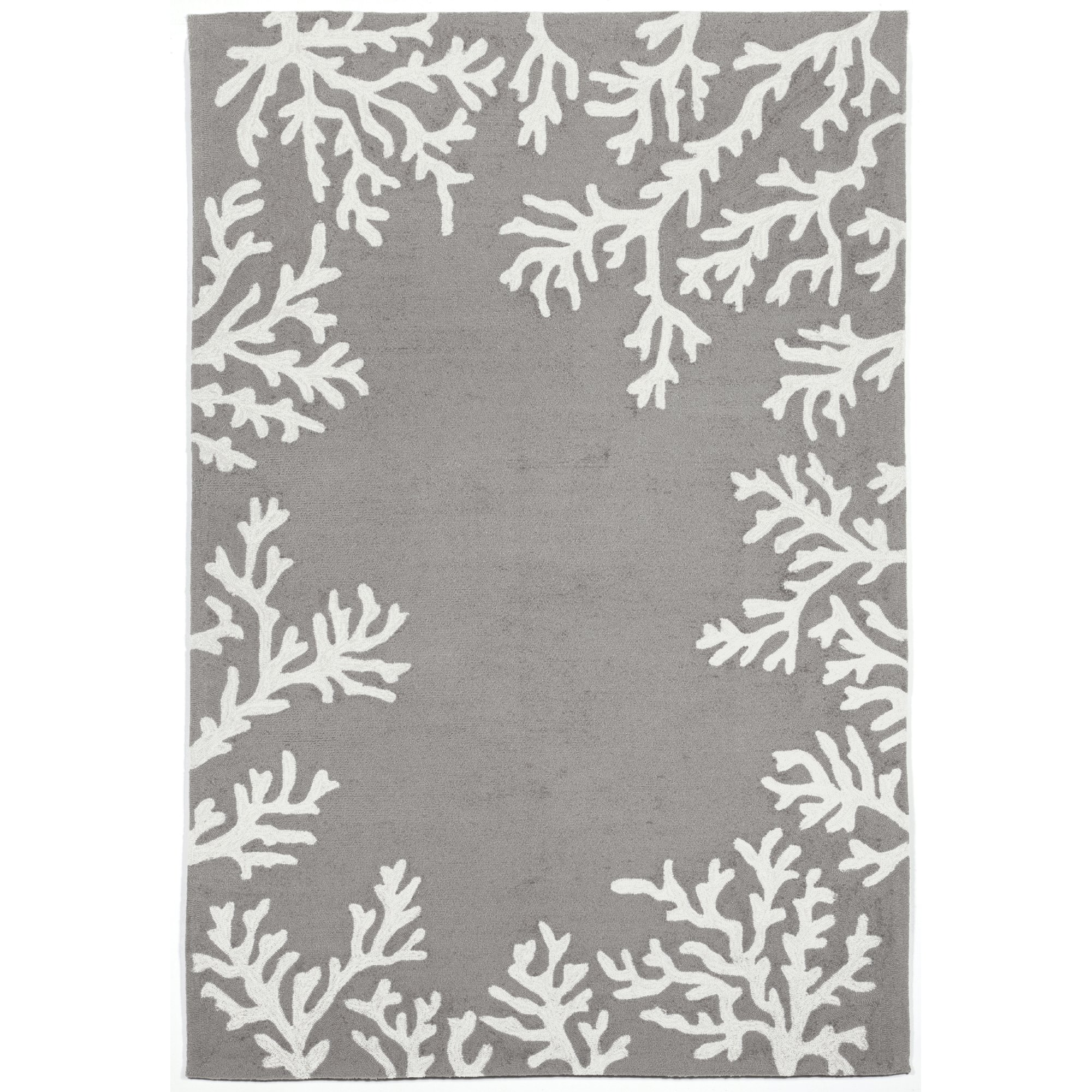 Liora Manne CAP12162055 Capri Shell Coral Reef Border Coastal Ocean Indoor/Outdoor Rug, 5' X 7'6'', Silver and Ivory