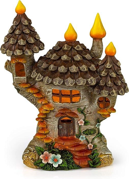 VP Home Pinecone Fairy Cottage Solar Powered LED Outdoor Decor Garden Light