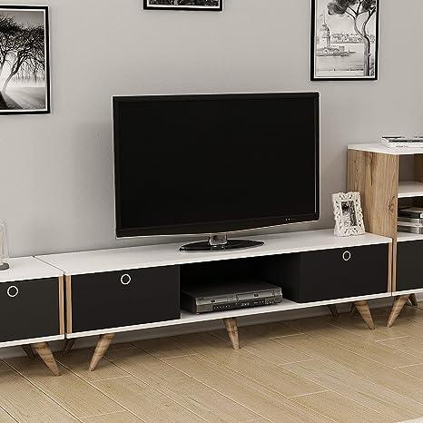 Noce-Nero-Bianco 150x35x41 cm Homemania Mobile Porta TV Zeyn Legno