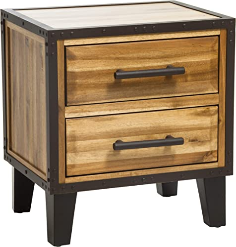 Christopher Knight Home Lina Acacia Wood Two Drawer Night Stand