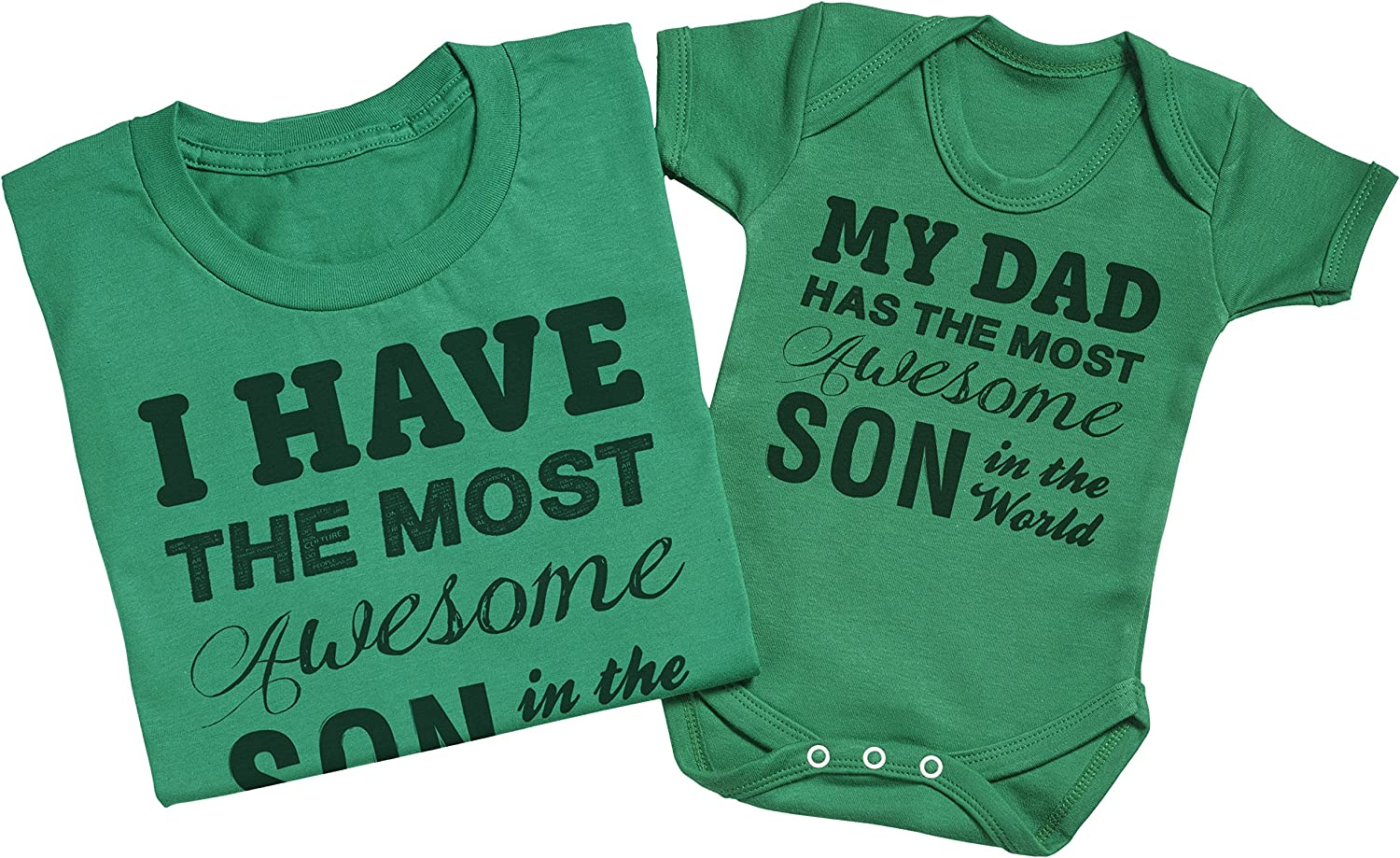 Mens T Shirt /& Baby Bodysuit Medium /& 3-6 Months Grey Zarlivia Clothing Most Awesome Son Matching Father Baby Gift Set