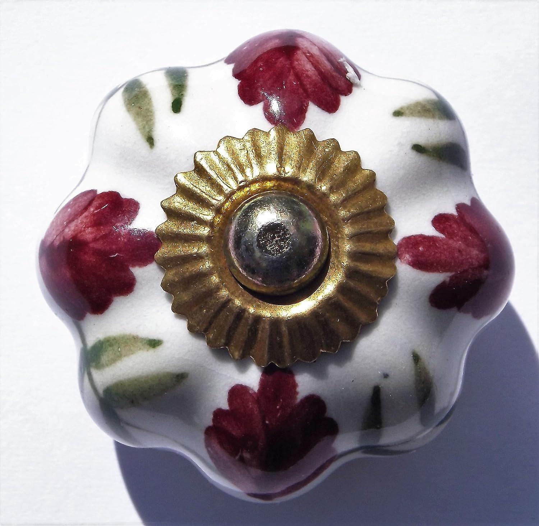 pistoni colore: prugna stile shabby chic Colore: Bianco con fiori e foglie pomelli per credenza e cassetti in ceramica chiusure con manico in porcellana in ottone