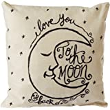 "CoolDream I Love You to the Moon and Back Cotton Throw Pillow Case Vintage Cushion Cover 18"" x 18"""