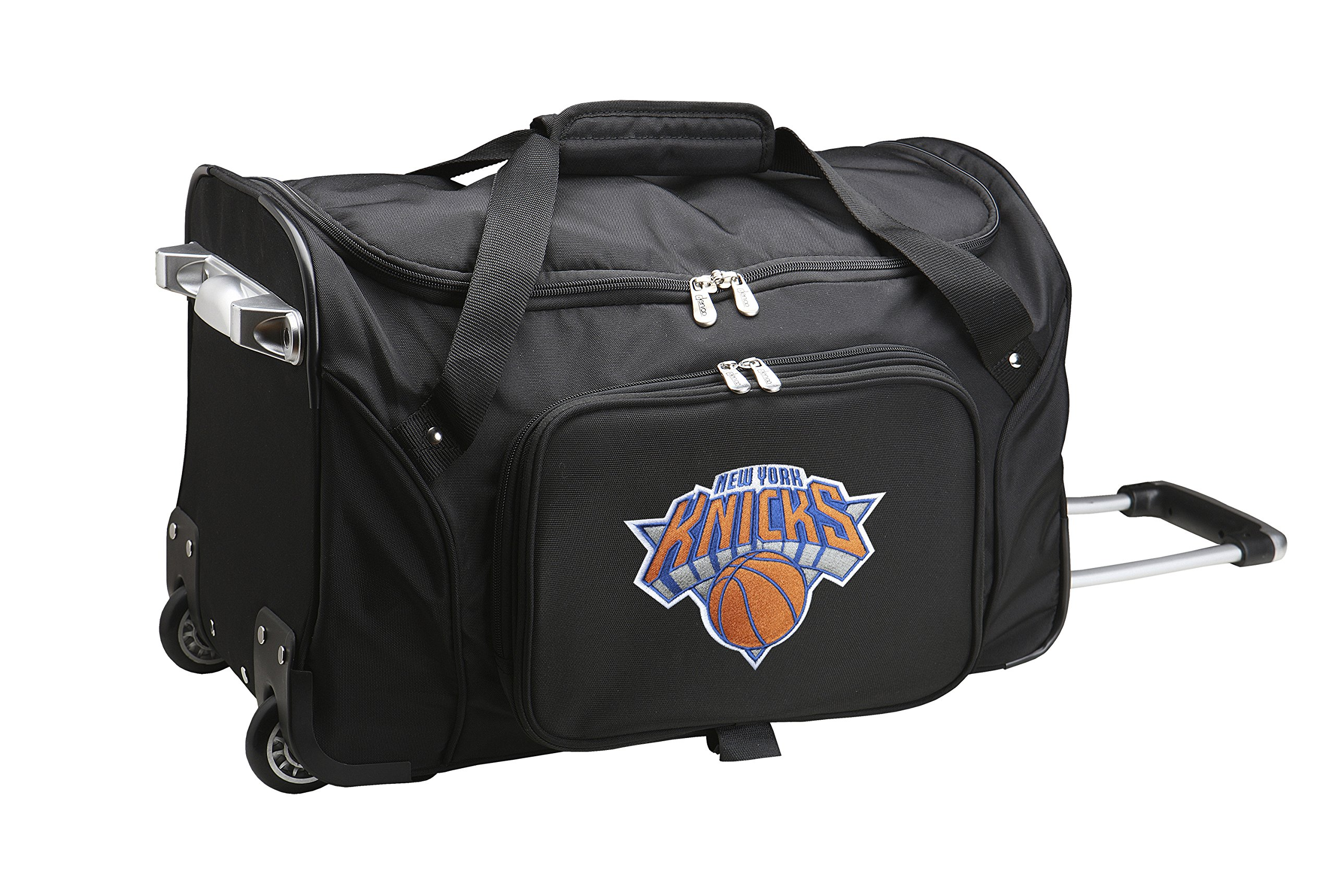 NBA New York Knicks Wheeled Duffle Bag, 22 x 12 x 5.5'', Black