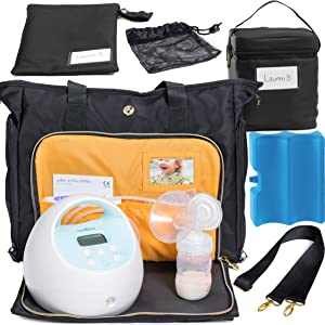 Zohzo Lauren Breast Pump Bag + Breastmilk Cooler + Ice Pack (Black)