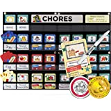 NEATLINGS Chore Chart System | Reward & Responsibility | Customize for 1-3 kids | 76 Unique Chores! | Teal Household Chore Cards / Dark Blue, Red, & Yellow Self-Care Chore Cards