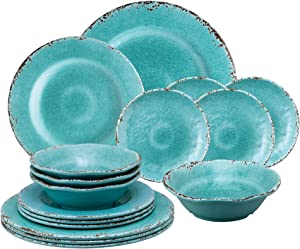 Gourmet Art 16-Piece Crackle Heavyweight and Durable Melamine Dinnerware Set, Turquoise, Service for 4. Includes Dinner Plates, Salad Plates, Dessert Plates and Bowls. for Everyday Use