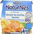 Nestlé Bébé Naturnes Les Sélections Douceur de Carottes, Saumon Sauvage - Plat Complet dès 6 Mois - 2 x 200g - Lot de 6