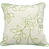 """Chain Embroidery Floral Decorative with Piping Throw Pillow Cover 18"""" Green"""