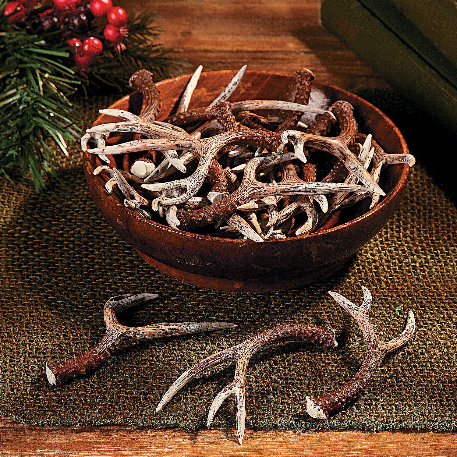 Resin Antlers by Fun Express - Hand Painted - Fake Antlers for Crafts and Decoration - Deer - 4 Pieces