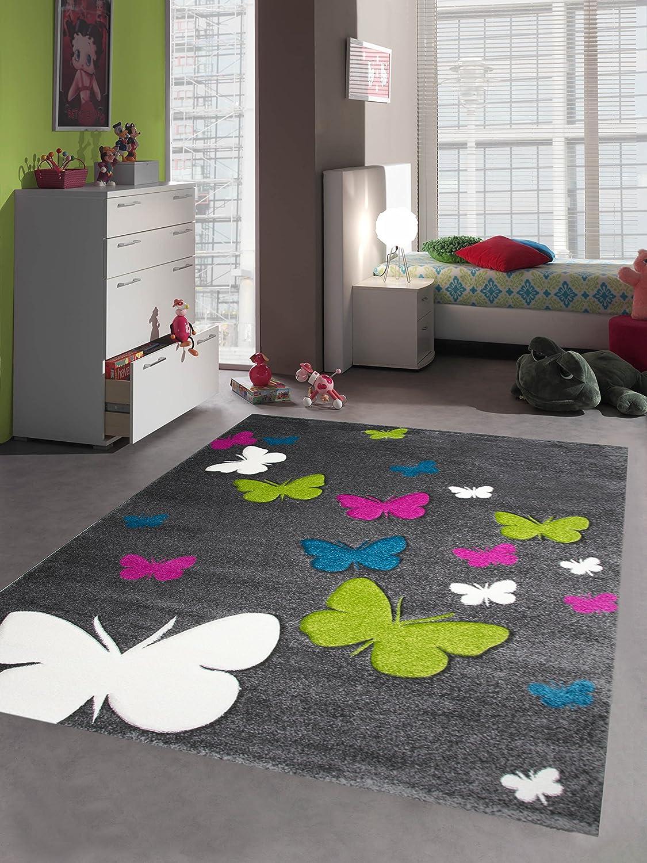 Kinderteppich Spielteppich Kinderzimmer Teppich Schmetterling Design mit Konturenschnitt Grau Pink Türkis Grün Creme Größe 200 x 290 cm