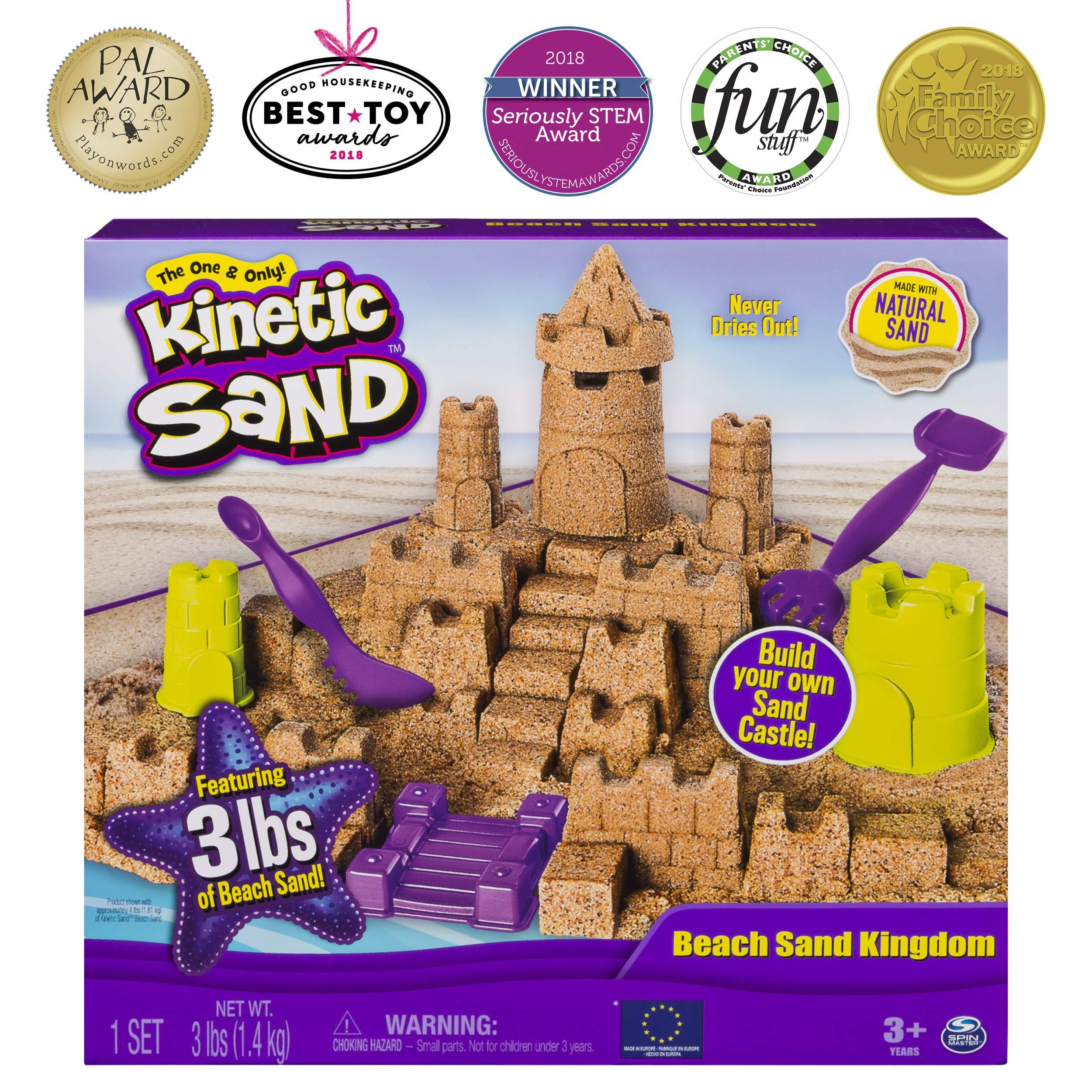 Kinetic Sand Beach Sand Kingdom Playset with 3lbs of Beach Sand, for Ages 3 and Up by Kinetic Sand