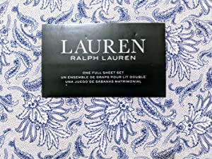 Lauren Ralph Lauren 4 Piece. 100% Cotton Floral Paisley Sheet Set Indigo Blue, Full