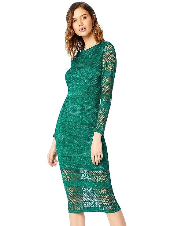 Vestido ajustado de encaje abierto a la espalda. Opción de colores.