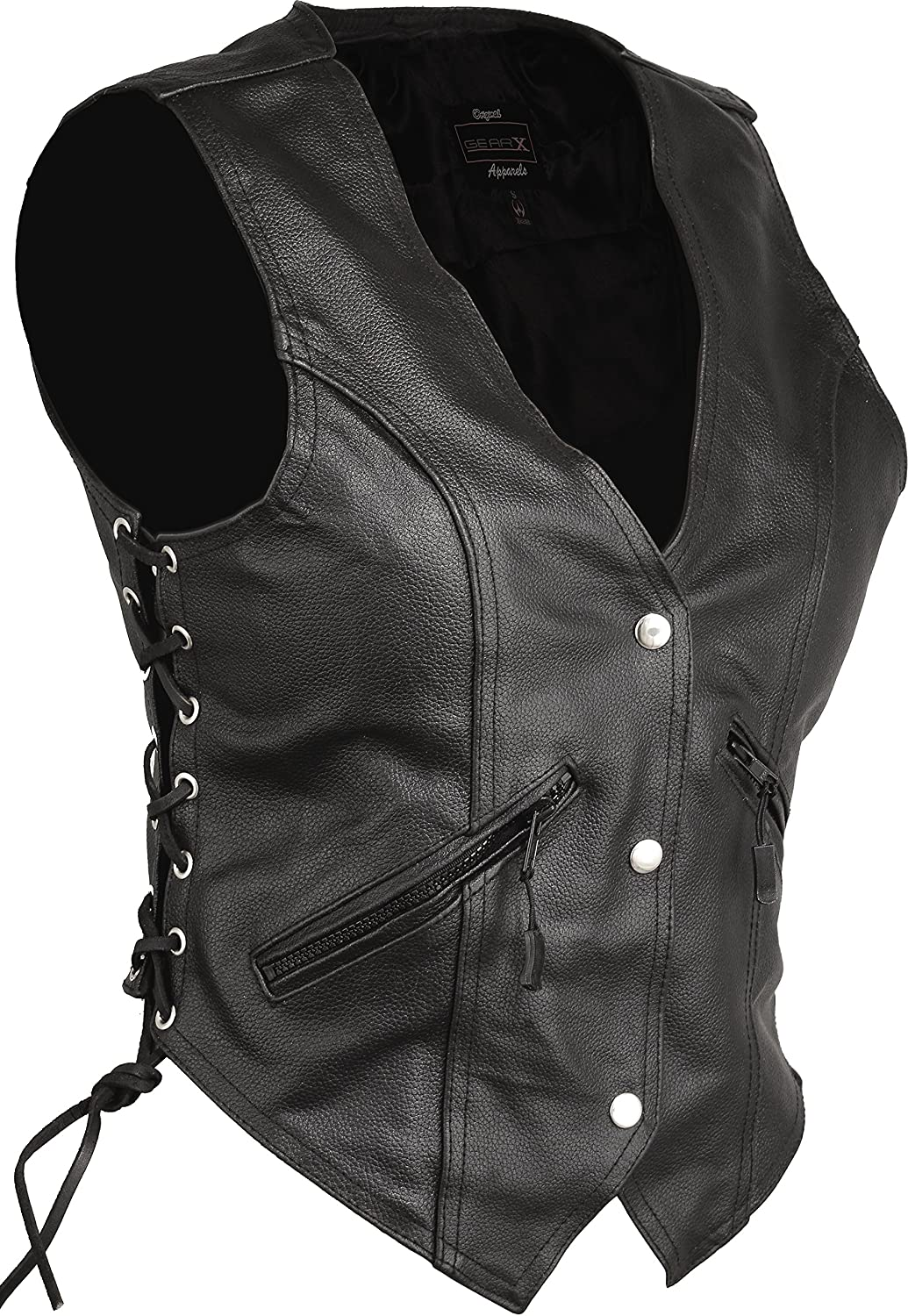Womens Leather Waistcoat Motorcycle Vitange Biker Fashion (S) GearX