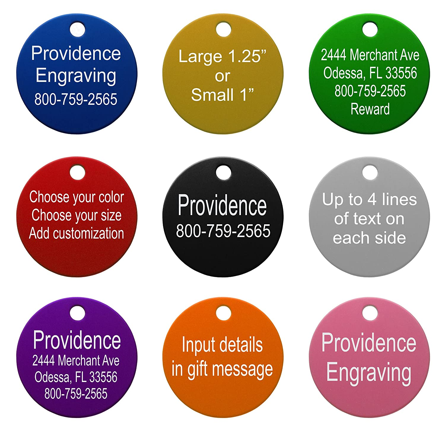 amazon com providence engraving aluminum pet id tags for cat and