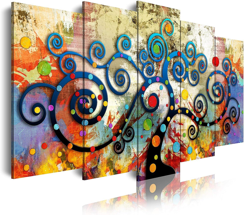 DekoArte 486 Cuadro moderno en lienzo, Estilo Abstracto árbol de la Vida Gustav Klimt de Colores, multi rojos, 5 piezas (150x80x3cm)