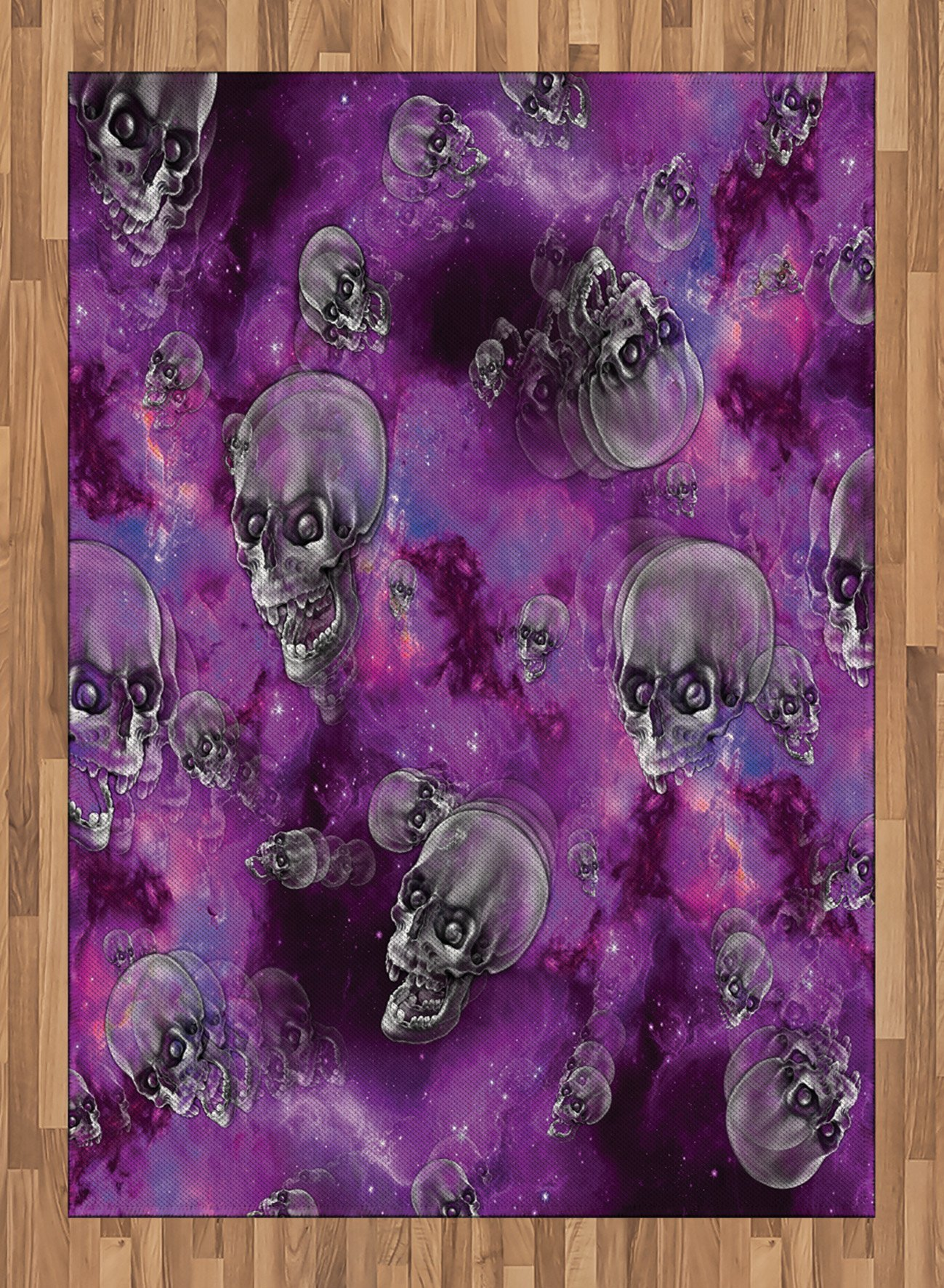 Skull Area Rug by Ambesonne, Horror Movie Thirller Themed Flying Skull Heads Halloween in Outer Space Image, Flat Woven Accent Rug for Living Room Bedroom Dining Room, 5.2 x 7.5 FT, Black and Purple