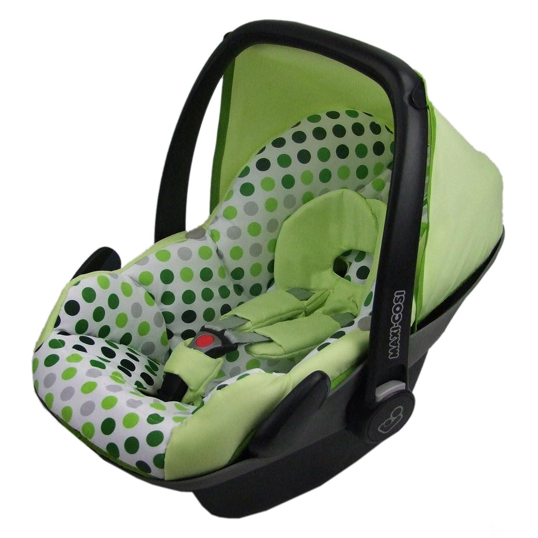 Bezug f/ür Babyschale BAMBINIWELT Ersatzbezug f/ür Maxi-Cosi PEBBLE 5-tlg Komplett-Set *NEU* HELLGR/ÜN MIT PUNKTEN