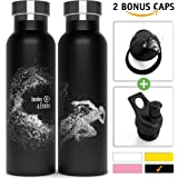Insulated Water Bottle + BPA Free Lid w/Straw + Push-Pull Cap | Double Walled, Vacuum Insulated, 18/8 Stainless Steel, Eco Friendly, Sweat Proof, Durable Finish 20 oz Thermos