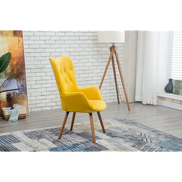 Roundhill Furniture AC155YL Doarnin Silky Velvet Tufted Button Accent Chair, Yellow