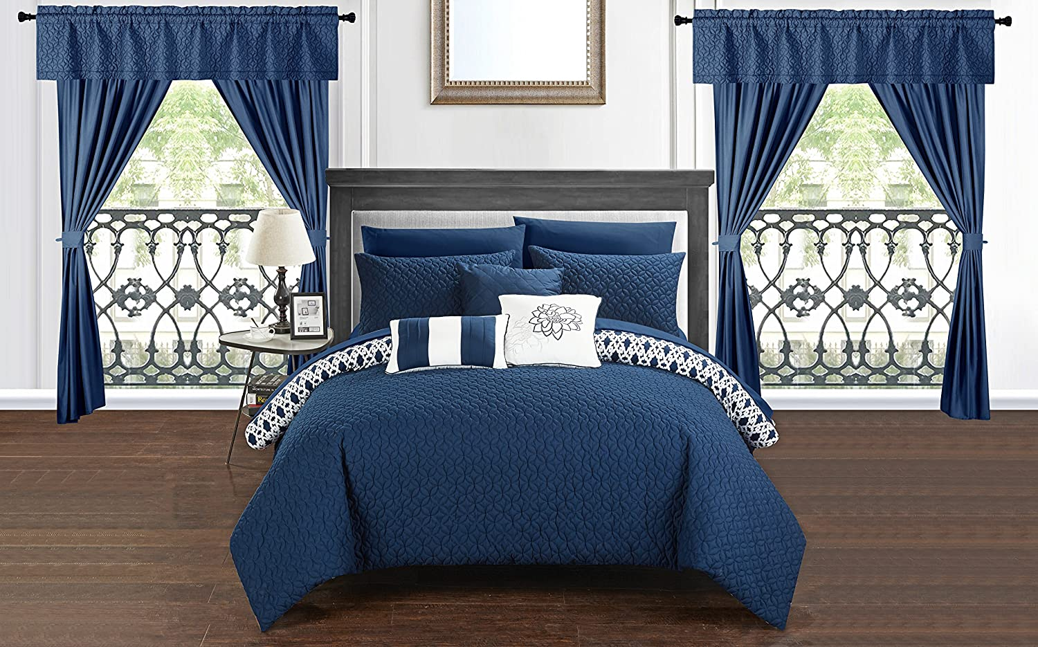 Chic Home Sigal 20 Piece Comforter Set Reversible Geometric Quilted Design Complete Bed in a Bag Bedding – Sheets Decorative Pillows Shams Window Treatments Curtains Included King Navy
