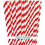 Red and White Striped Paper Straws - 7.75 Inches - Pack of 100 - Outside the Box Papers Brand