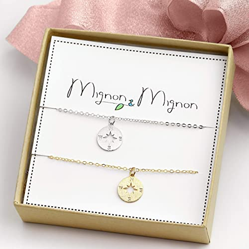 compass necklace for best friends dainty long distance best friend gift for her bff necklace friendship - Best Friends Christmas Gifts