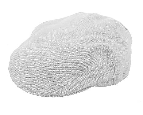 6b9b9e032df6c Failsworth Irish Linen Summer Flat Cap in White  Amazon.co.uk  Clothing
