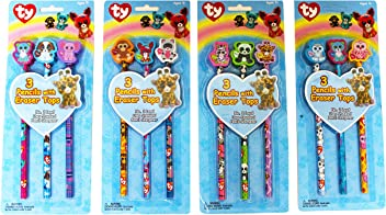 Ty Beanie Boos Pencils with Eraser Tops, Pack of 3, Character Designs will Vary