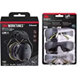3M Worktunes Connect Bluetooth Hearing Protection with 3M Pro SecureFit 400 Eye Protection Safety Glasses, Black Frame…