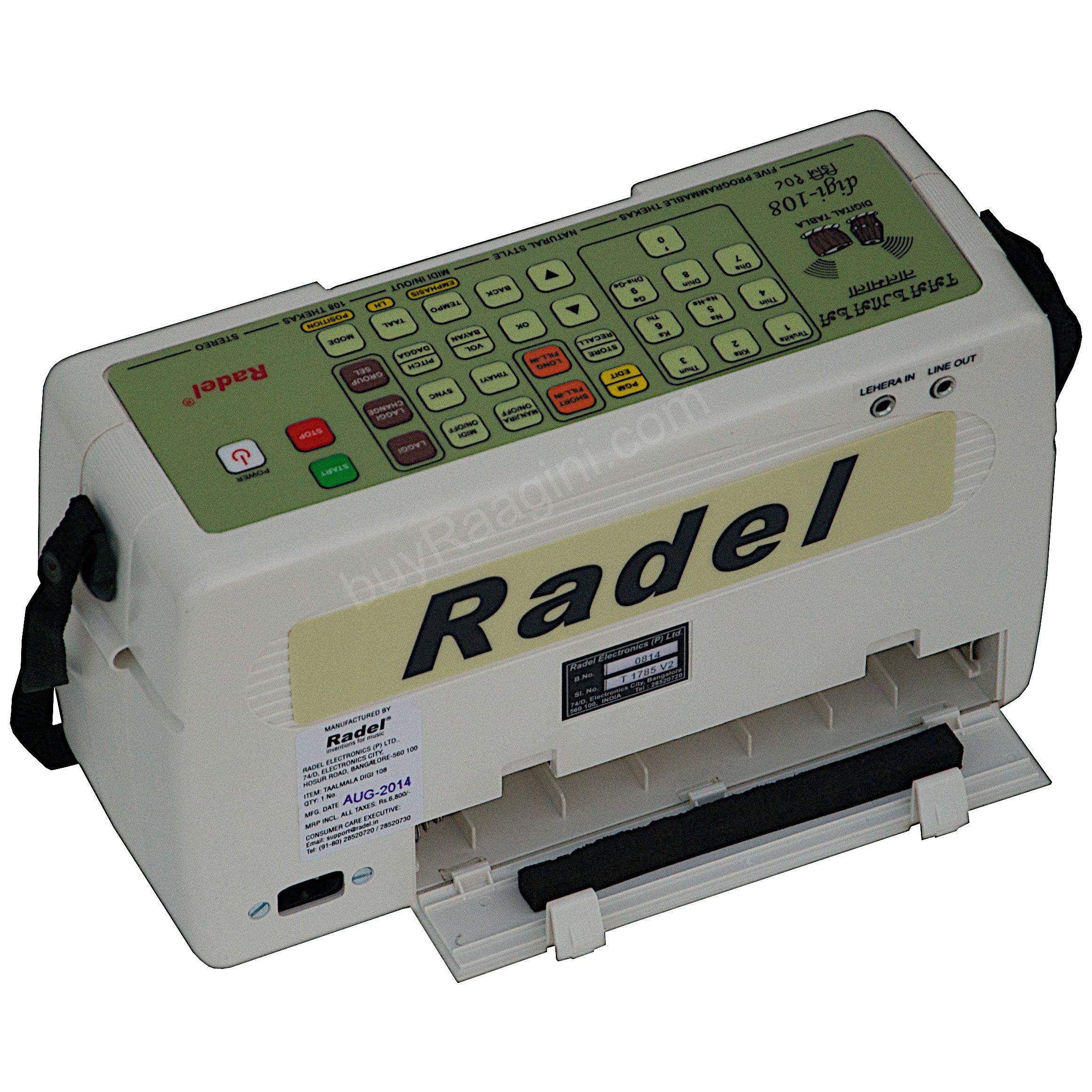 Electronic Tabla - RADEL Taalmala - Digi 108, Electronic Tabla & Manjira - Tabla Sampler, DJ Tabla Sound Machine, Instruction Manual, Power Cord, Bag (US-PDI-AAF) by Radel at buyRaagini.com (Image #7)