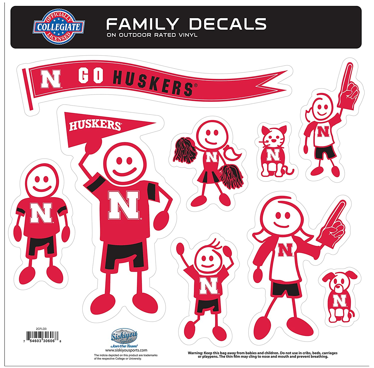 NCAA Nebraska Cornhuskers Family Character Decals, Large College 2CFLD3