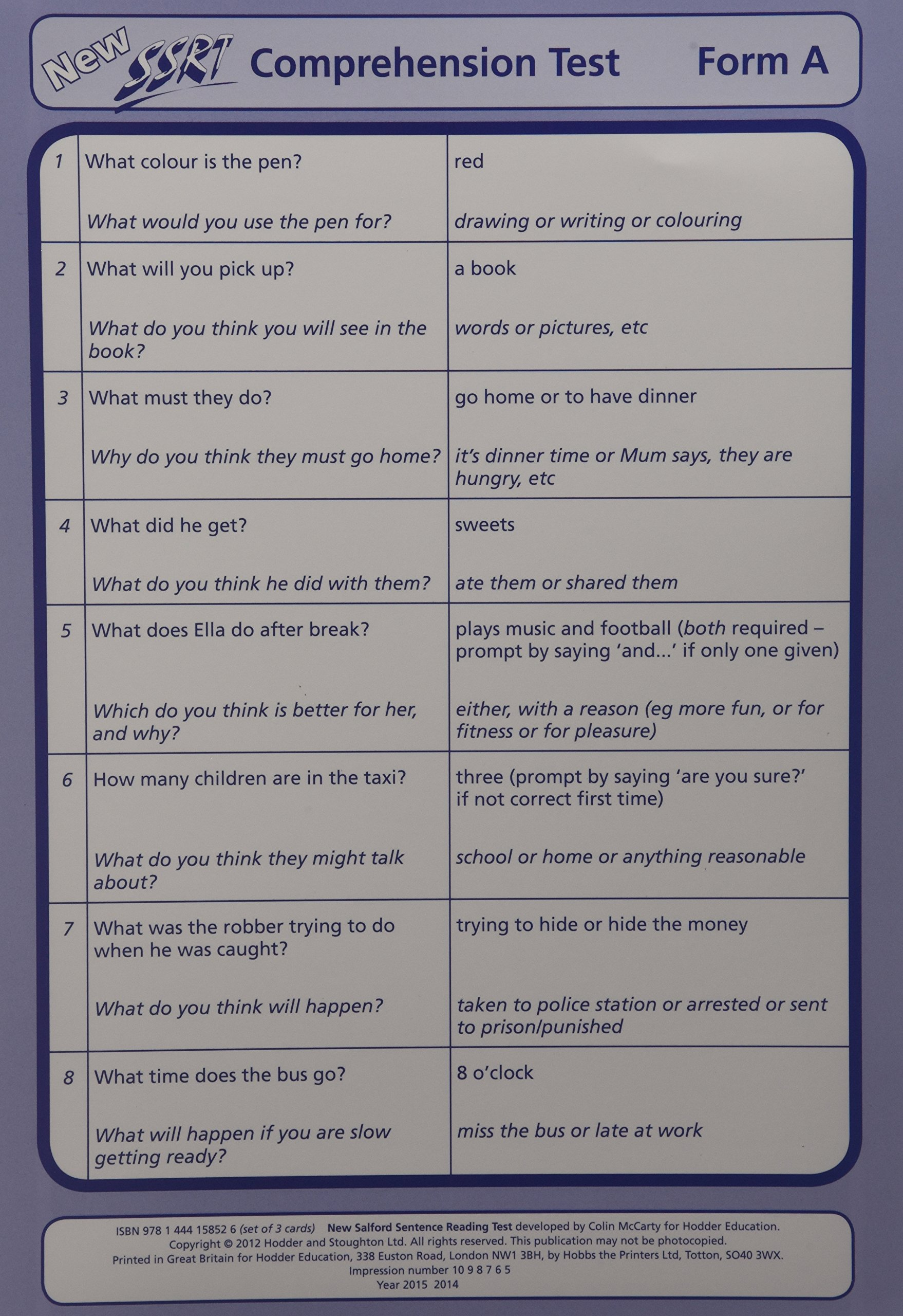 - New Salford Sentence Reading Test: Pk. 3: Comprehension Cards A, B