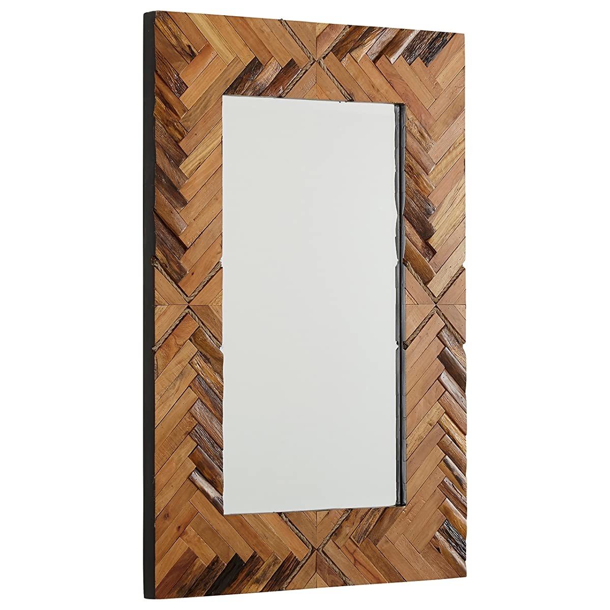 "Stone & Beam Rustic Wood and Rope Geo Mirror, 36"" H, Natural"