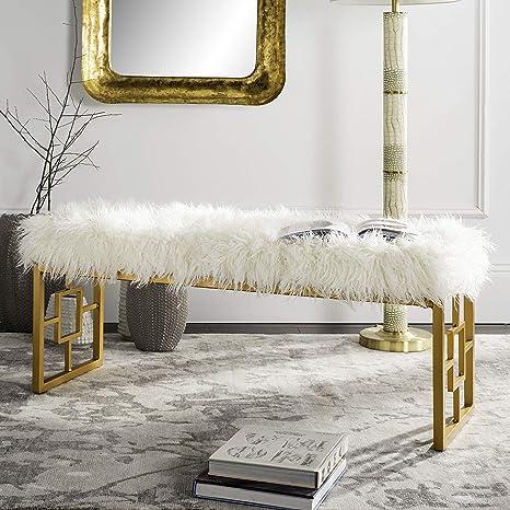 Amazon Com Safavieh Home Collection Mera Glam White Faux Sheepskin And Gold Bench Furniture Decor