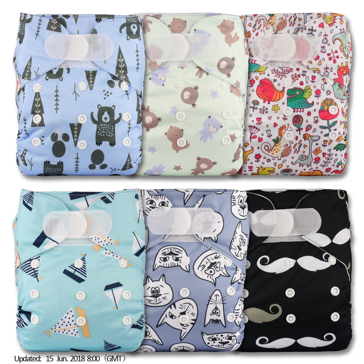 Littles & Bloomz, Reusable Pocket Cloth Nappy, Fastener: Hook-Loop, Set of 6, Patterns 603, With 12 Bamboo Inserts
