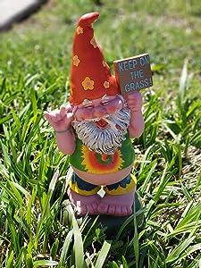 Hippie Gnome Pot Smoking Keep On Grass Garden Gnome Statue Organically