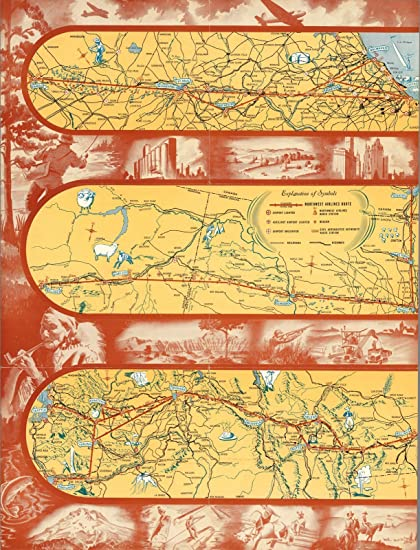 Northwest Chicago Map.Amazon Com Pocket Map Northwest Airlines Short Cut Chicago