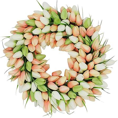 Coral Tulip Front Door Wreath 19 Inch Amazon Co Uk Kitchen Home