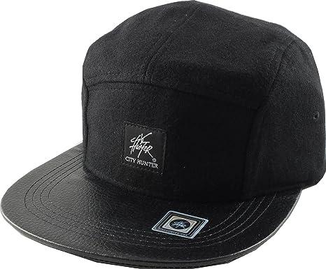 fa7e9445f69 City Hunter Wool 5 Panel Cap One Size Adjustable (Black)  Amazon.co ...