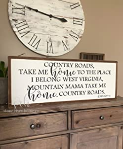 EricauBird Wall Art Country Roads take me Home ed Wood Sign | Home Decor Sign | Distressed Rustic Antiqued Sign Decor | Fixer Upper | Farmhouse Decor Wood Plaque, Custom Gift