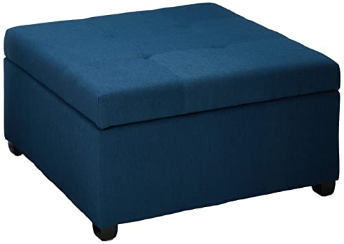 Christopher Knight Home Living Carlyle Dark Blue Fabric Storage Ottoman, 35.00D x 35.00W x 18.50H