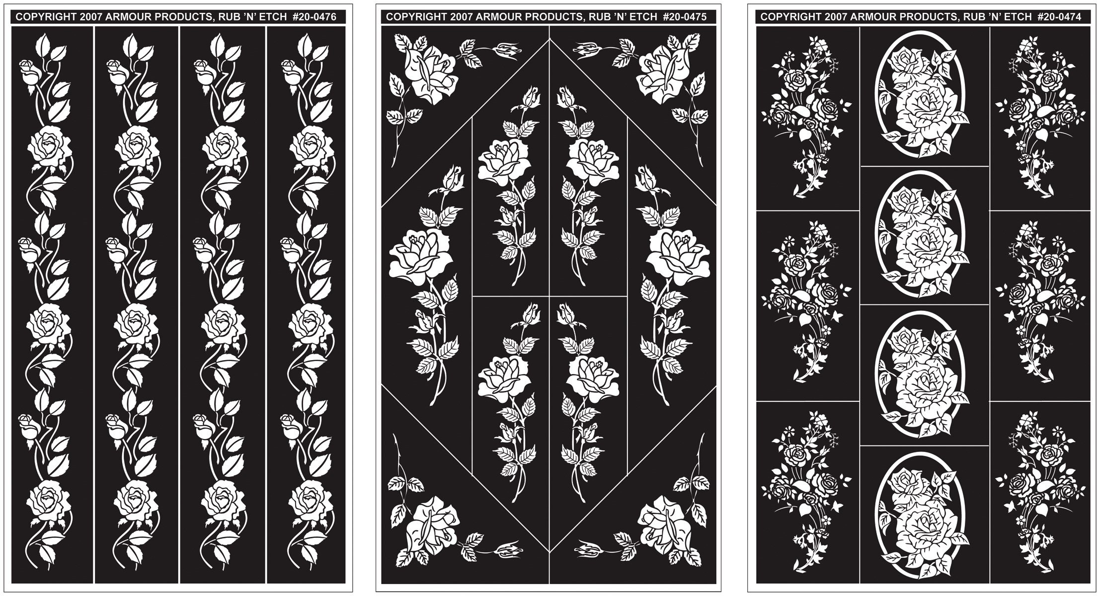 Armour Products Rub 'n' Etch Glass Etching Stencils 5in. x 8in. 3/Pkg Rose Designs 12-7042